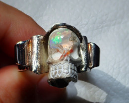 15sz Skull Mexican Opal .925 Sterling Silver Ring