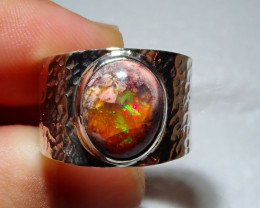 8sz Mexican Opal .925 Sterling Silver Ring