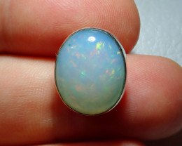 12.47ct Natural Ethiopian Welo Opal .925 Sterling Silver Pendant