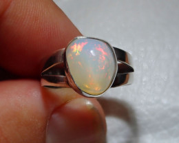 6.7sz Natural Ethiopian Welo Opal .925 Sterling Silver Ring