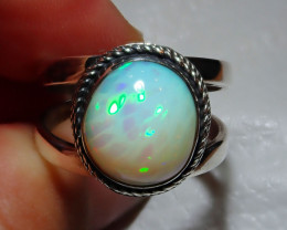 10.5sz Natural Ethiopian Welo Opal .925 Sterling Silver Ring