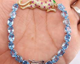 Leopard blue Swiss Topaz barcelet.