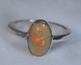 5sz .925 Sterling Ethiopian Welo Solid Opal Silver Ring