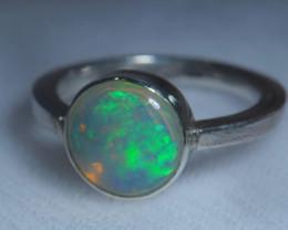 7.7sz .925 Sterling Ethiopian Welo Solid Opal Silver Ring