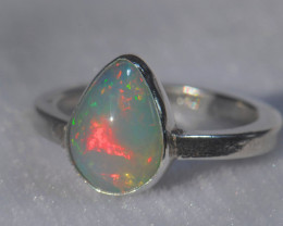 8.7sz .925 Sterling Ethiopian Welo Solid Opal Silver Ring