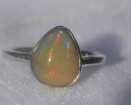 7sz .925 Sterling Ethiopian Welo Solid Opal Silver Ring