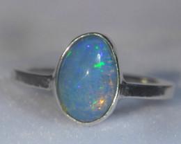 6sz .925 Sterling Ethiopian Welo Solid Opal Silver Ring