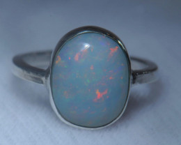 6sz .925 Sterling Ethiopian Welo Solid Opal Silver Ring