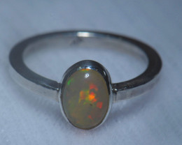 5sz .925 Sterling Ethiopian Welo Solid Opal Silver Ring