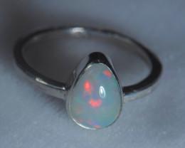 5.7sz .925 Sterling Ethiopian Welo Solid Opal Silver Ring