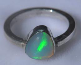 8sz .925 Sterling Ethiopian Welo Solid Opal Silver Ring