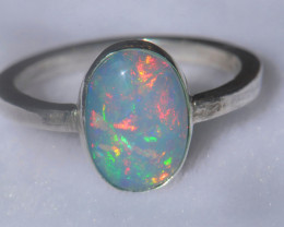 12.5sz .925 Sterling Ethiopian Welo Solid Opal Silver Ring