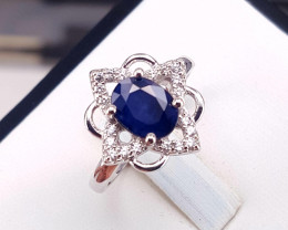Blue sapphire with CZ Ring.