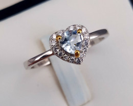 Natural Aquamarine with CZ Ring
