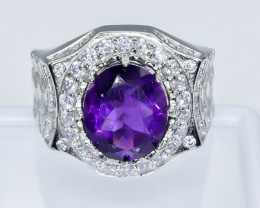 52.15 Crt Amethyst  With Cubic Zircon 925 Silver Ring