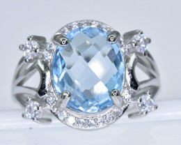 21.34 Crt  Topaz With Cubic Zircon 925 Silver Ring