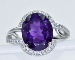 19.95 Crt Amethyst  With Cubic Zircon 925 Silver Ring