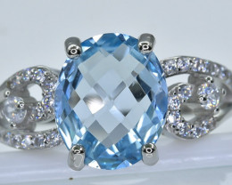 20.80 Crt  Topaz With Cubic Zircon 925 Silver Ring