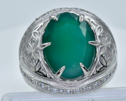 49.98 Crt  Green Agate With Cubic Zircon 925 Silver Ring