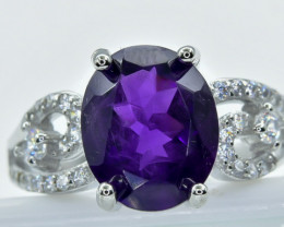 19.45 Crt Amethyst  With Cubic Zircon 925 Silver Ring