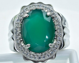 64.03 Crt  Green Agate With Cubic Zircon 925 Silver Ring