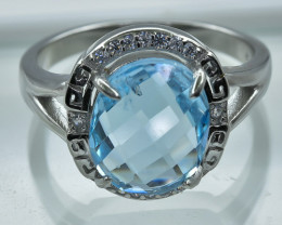 20.91 Crt Topaz  With Cubic Zircon 925 Silver Ring
