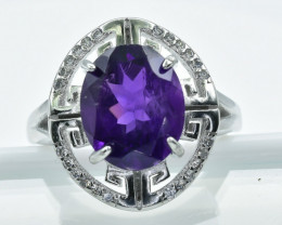 22.50 Crt Amethyst  With Cubic Zircon 925 Silver Ring