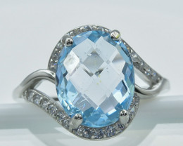 16.24 Crt Topaz With Cubic Zircon 925 Silver Ring