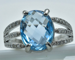 20.07 Crt  Topaz With Cubic Zircon 925 Silver Ring