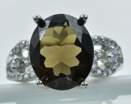 19.20 Crt  Smoky With Cubic Zircon 925 Silver Ring