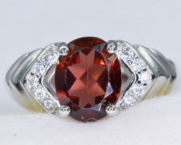 15.73 Crt Natural  Garnet 925 Sterling Silver Ring AB (01)