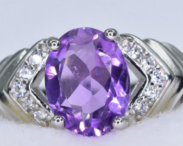 15.91 Crt Natural Amethyst 925 Sterling Silver Ring AB (01)
