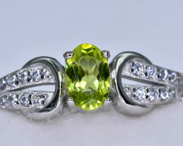 15.51 Crt Natural Peridot 925 Sterling Silver Ring AB (01)
