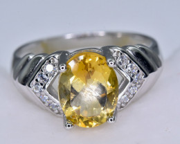 14.57 Crt Natural Citrine  925 Sterling Silver Ring AB (01)