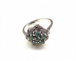 EMERALD 925% SILVER RING A34