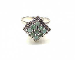 EMERALD 925% SILVER RING A36