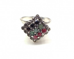 RUBY EMERALD SAPPHIRE MIXED 925% SILVER RING A37
