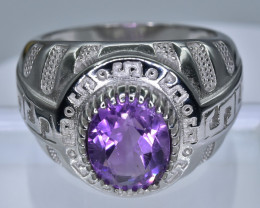 44.04 Crt Amethyst With Cubic Zircon 925 Silver Ring