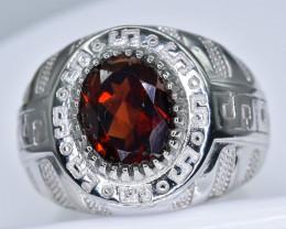 46.19 Crt  Rhodolite Garnet With Cubic Zircon 925 Silver Ring