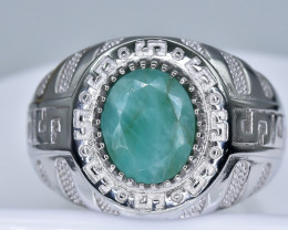 46.83 Crt  Emerald With Cubic Zircon 925 Silver Ring