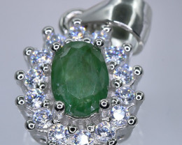 12.84 Crt  Emerald With Cubic Zircon 925 Silver