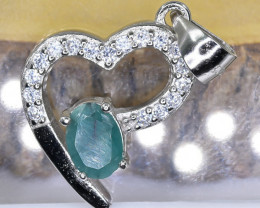 14.03 Crt  Emerald With Cubic Zircon 925 Silver