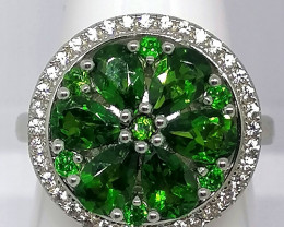 Chrome Diopside and White Zircon Spinner Ring 3.33 TCW