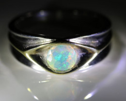 Opal .62ct Platinum Finish Solid 925 Sterling Silver Ring