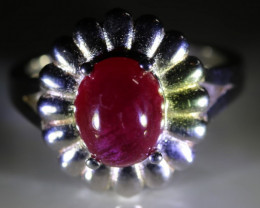 Ruby 4.30ct Platinum Finish Solid 925 Sterling Silver Ring