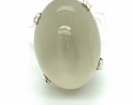 Moonstone 25.80ct Platinum Finish Solid 925 Sterling Silver Ring