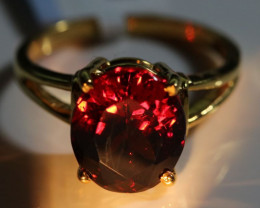 Imperial Malaya Garnet 7.15ct Solid 18K Yellow Gold Solitaire Ring