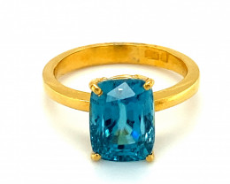 Cambodian Blue Zircon 7.66ct Solid 22K Yellow Gold Solitaire Ring