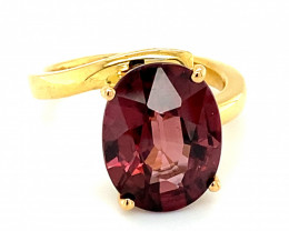 Red Zircon 9.37ct Solid 18K Yellow Gold Solitaire Ring