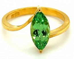 Tsavorite Garnet 1.90ct Solid 22K Yellow Gold Solitaire Ring